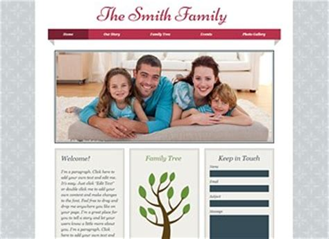 Family Album Website Template Wix Family Genealogy Website Templates