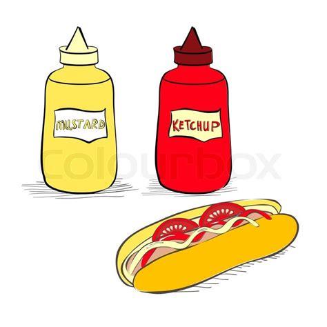ketchup clipart ketchup und senf flaschen mit stock vektor