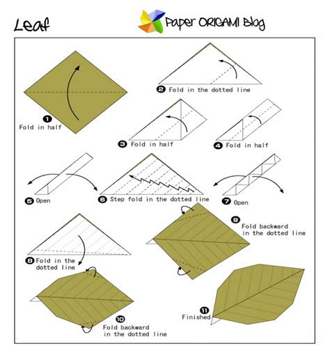 Origami Leaves - easy origami leaf paper origami guide