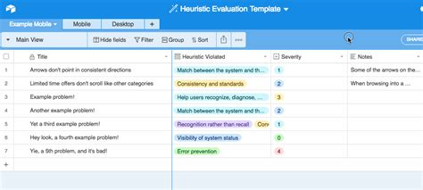 Mobile Heuristic Evaluation With Airtable 183 Fastspot Heuristic Evaluation Template