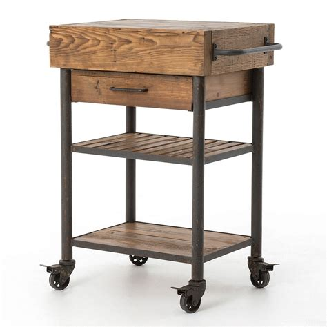 kitchen island rolling cart industrial reclaimed wood rolling kitchen island cart