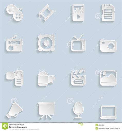 eps format till jpg paper multimedia icons stock vector image 46305961