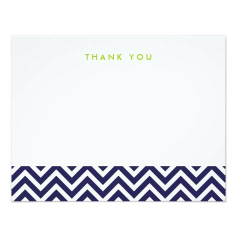 Thank You Letter Card Navy Blue Simple Chevron Thank You Note Cards Invitation Card