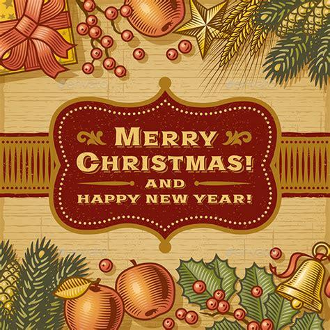 vintage merry christmas card  iatsun graphicriver