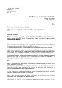 lettre d offre de vente prioritaire au b 233 n 233 ficiaire d un pacte de pr 233 f 233 rence mod 232 le de lettre