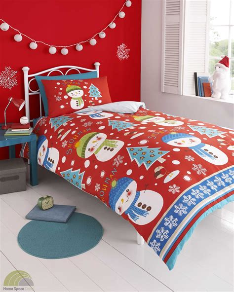 snowman comforter set christmas xmas red duvet cover p case bedding bed set