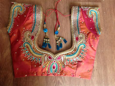 blouse pattern works embroidery stone blouse back necks for south indian brides