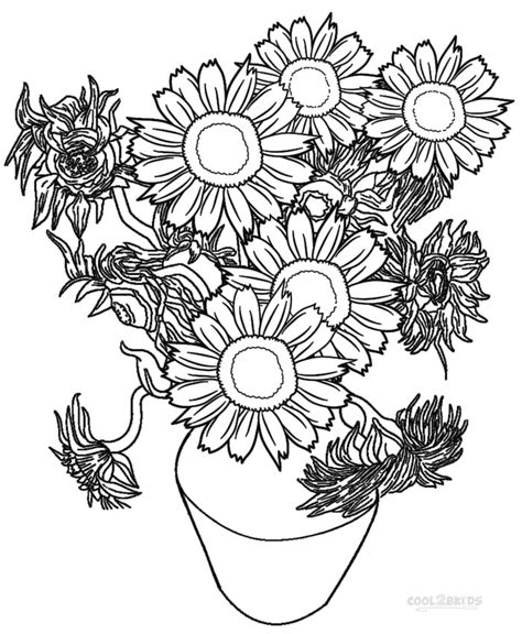 printable sunflower coloring pages for kids cool2bkids
