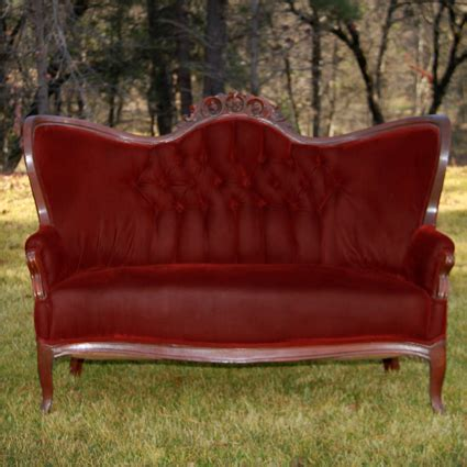 red vintage couch london red velvet tufted settee forever vintage rentals