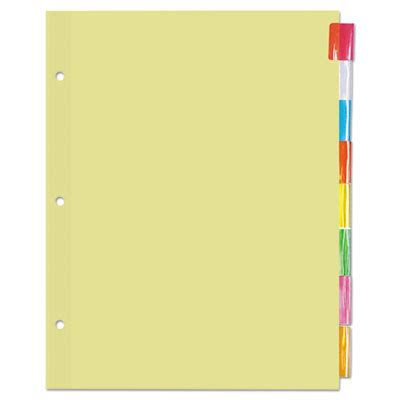 Universal Ring Binder Insertable Indexes Template