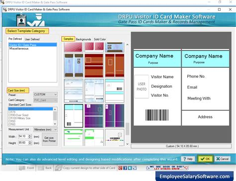 software pattern visitor visitor id card design software screenshots of how to