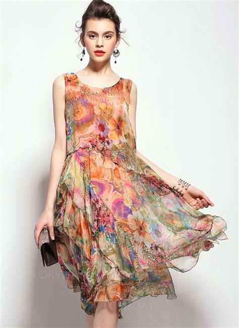 Verra Dress T3009 2 floryday abito di epoca floreale in seta al ginocchio 1955096520