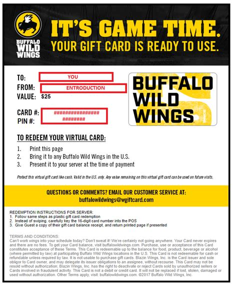 Buffalo Wild Wings Gift Card Balance - h 25 buffalo wild wings gift cards w 75 paypal 18 75 each giftcardexchange
