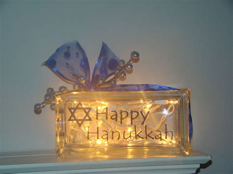 Happy Hanukkah Glass Block Light Glass Block Light