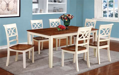 country dining table set torrington country style 7pc vintage white cherry dining