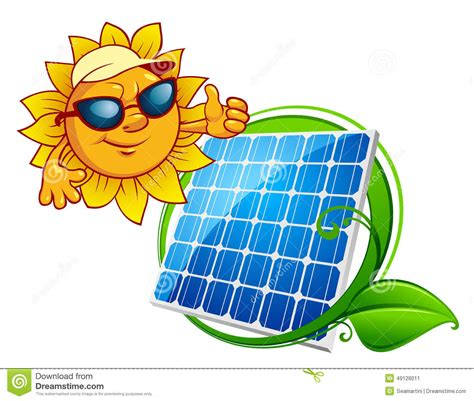 Economy House Plans by Cartooned Cheerful Sun With Blue Solar Panel Stock Vector