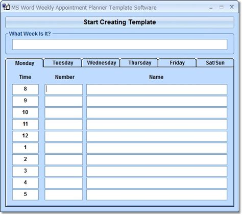 appointment planner template free ms word weekly appointment planner software