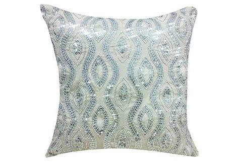 silver beaded pillow 16x16 beaded pillow silver