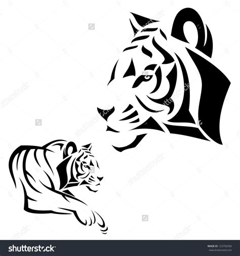 simple tiger tattoo tiger outline tiger vector illustration