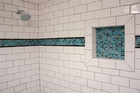 subway tile shower niches bathrooms pinterest subway tile shower with accent strip and soap niche