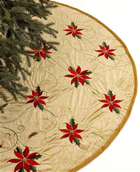 martha stewart tree skirt poinsetta gold 48 quot poinsettia embroidered tree skirt for the home