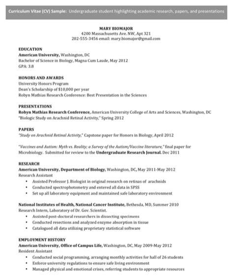 undergraduate cv template for free formtemplate