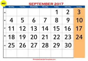 Calendar Of September September 2017 Printable Calendar Blank Templates