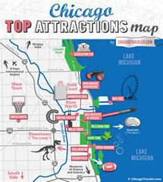 Chicago Sightseeing Map by Chicago Attractions Things To Do Places To Go