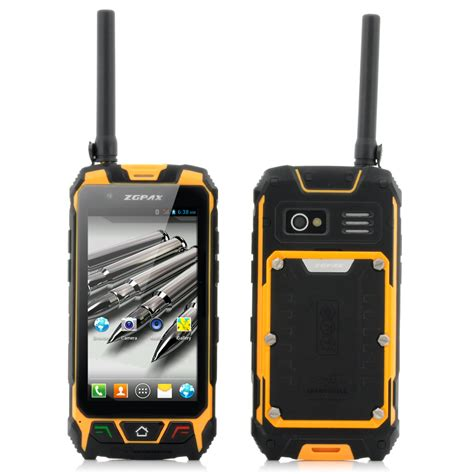 android walkie talkie zgpax s9 4 5 inch rugged android phone walkie talkie ip67 waterproof gps laser light