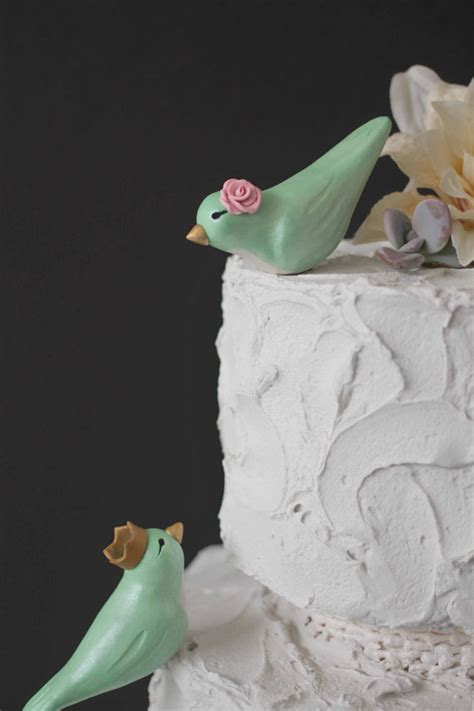 Handmade Wedding Cake Toppers - mint green lovebirds with crowns custom birds wedding