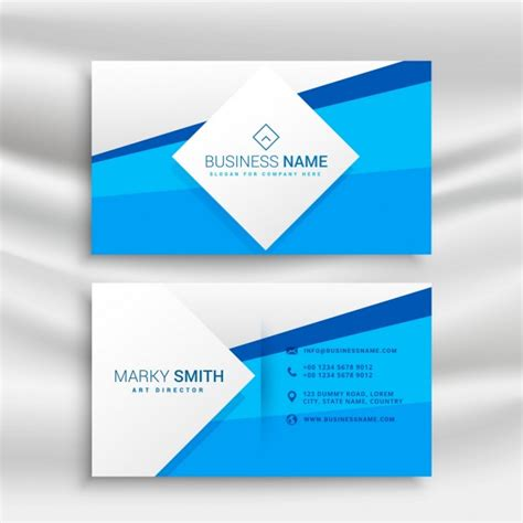 Blue Business Card Template Free by Blue Corporate Business Card Template Vector Free