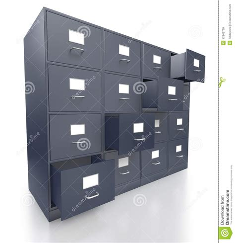 Free Filing Cabinet Four Grey Office Filing Cabinets With Open Drawers Royalty Free Stock Images Image 17842779