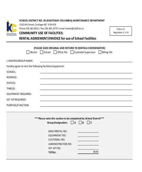 sle rental invoice 7 exles in pdf