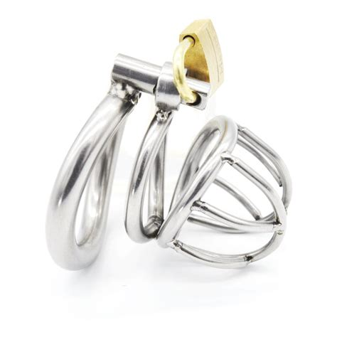 cage chastity rings stainless steel male chastity belt with arc shaped penis