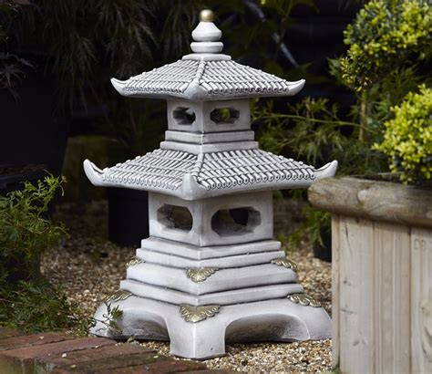 Pagoda Garden Decor Borderstone Two Tier Pagoda Garden Ornament Gardensite Co Uk