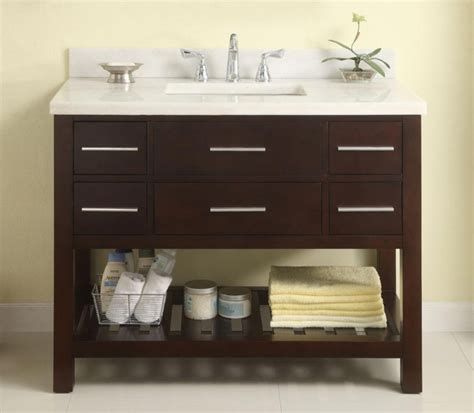 42 Inch Single Sink Bathroom Vanity With Marble Top In 42 Bathroom Cabinet