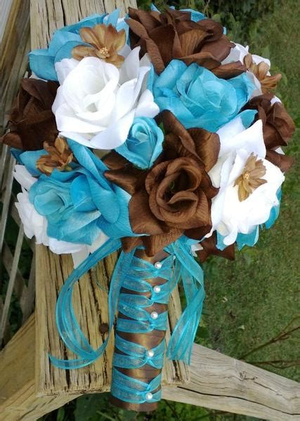 17 turquoise malibu blue brown white wedding flower set silk flowers by jean