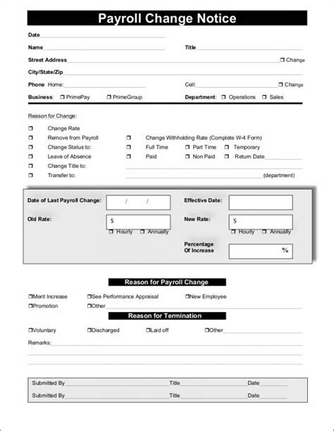 payroll change notice form template 25 payroll sles templates in pdf free pdf format
