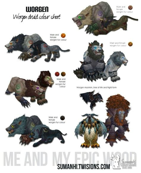 wow color worgen druid color chart world of warcraft