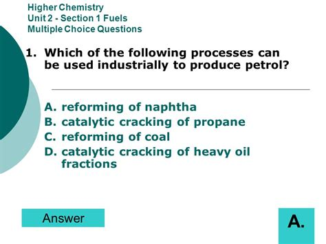 section 1 multiple choice questions higher chemistry unit 2 section 1 fuels multiple choice