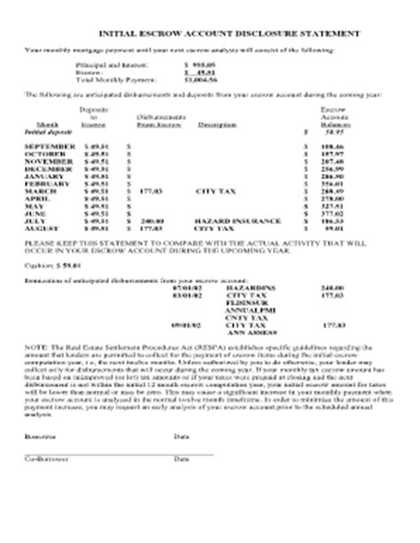 Closing Escrow Letter Escrow Disclosure Statement Fill Printable Fillable Blank Pdffiller