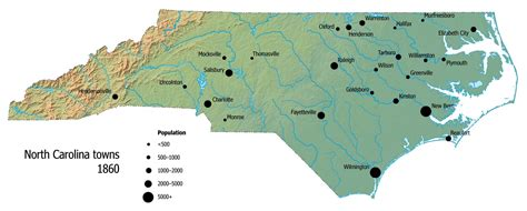 map of carolina major cities towns and villages carolina digital history