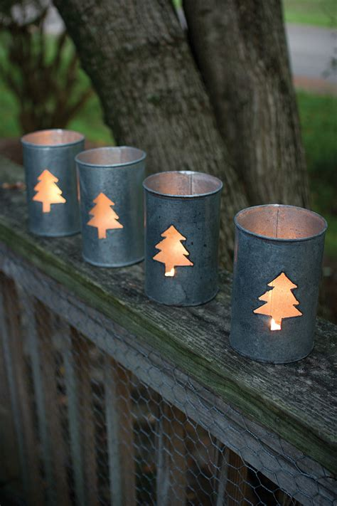 best outdoor luminaries set of 4 tin tree luminary