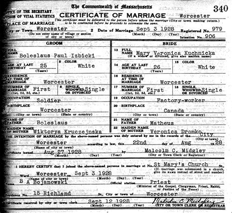 Worcester Marriage Records The Marriage Of Boleslaus Paul Izbicki And Kuchnicka 1928 Steve S
