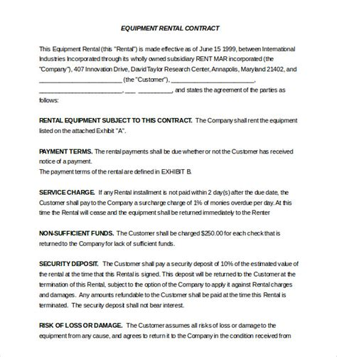 equipment rental lease agreement template rental agreement template 20 free word excel pdf