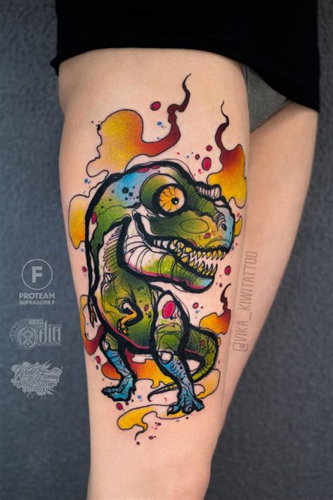 new school dinosaur tattoo colorfull dinosaur for by