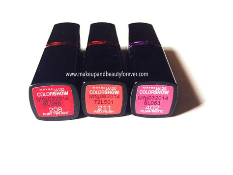 Lipstick Maybelline Color Show all shades of maybelline colorshow lipstick ruby twilight 208 211 plum tastic 402