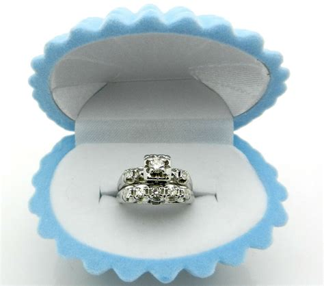 antique art deco  white gold diamond engagement tcw ring wedding band set ebay