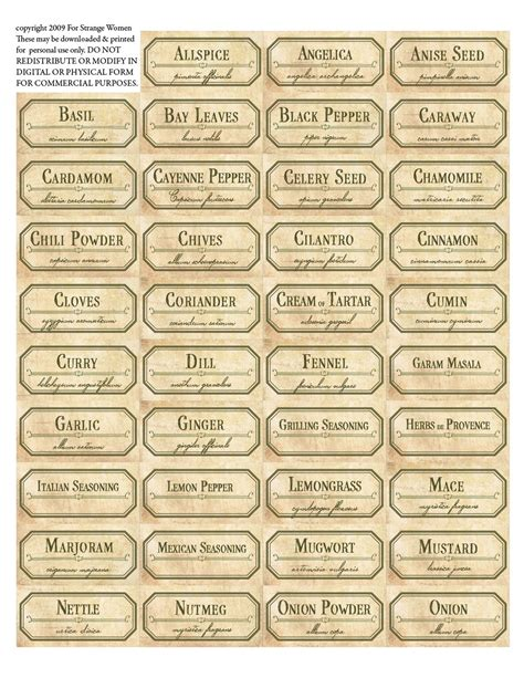 printable jar labels for strange women diy spice jar labels a free download