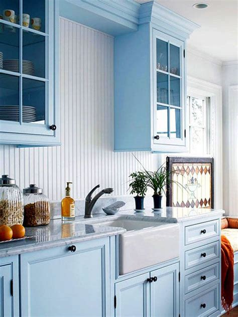 Wainscoting Kitchen Cabinets by Choosing Kitchen Cabinet Hardware Blue Kitchen Cabinets
